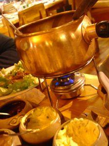 Romantic fondue dinner