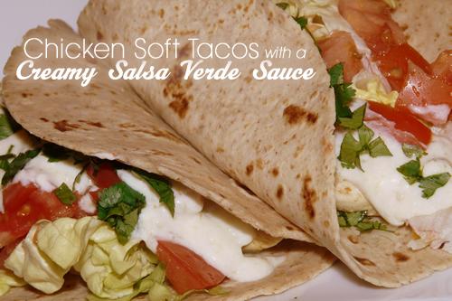 Chicken soft taco with creamy salsa verde