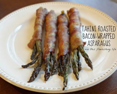 Tahini Roasted Bacon-Wrapped Asparagus