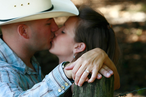 Country cowboy kiss
