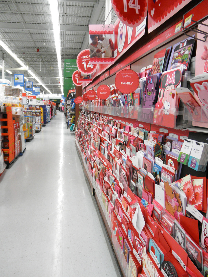 Hallmark Valentine's Day card aisle at Walmart #ValentineCards #CollectiveBias