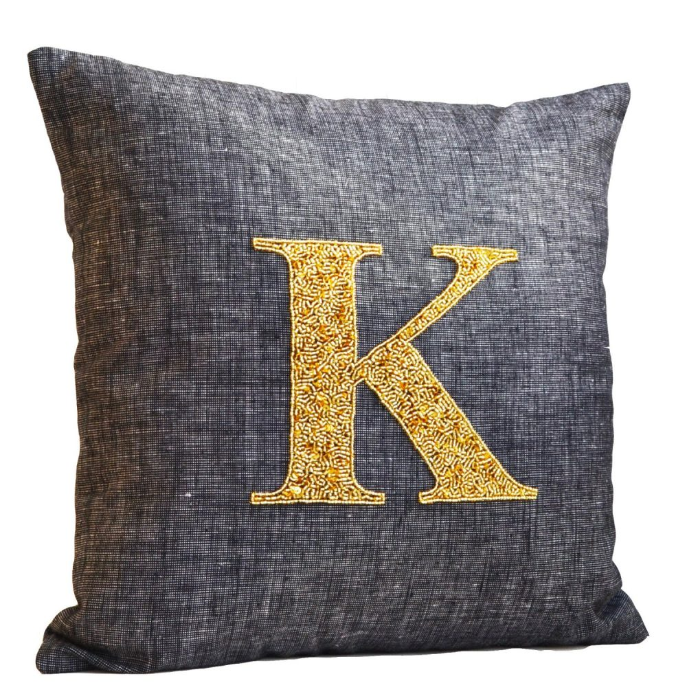Decorating with monograms - a monogrammed pillow