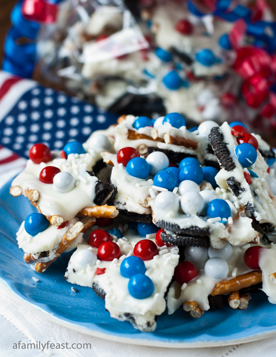 Chocolate Cookie Candy Pretzel Bark | A Family Feast