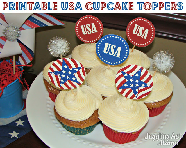 Patriotic Cupcake Toppers {Free Printable} | Juggling Act Mama
