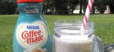 Vanilla milkshake recipe using bananas and Coffee-mate #TakeBackVanilla sponsored