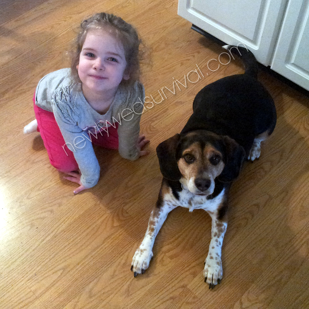 Our beagle, Honey, with her cousin #ScienceHappens ad