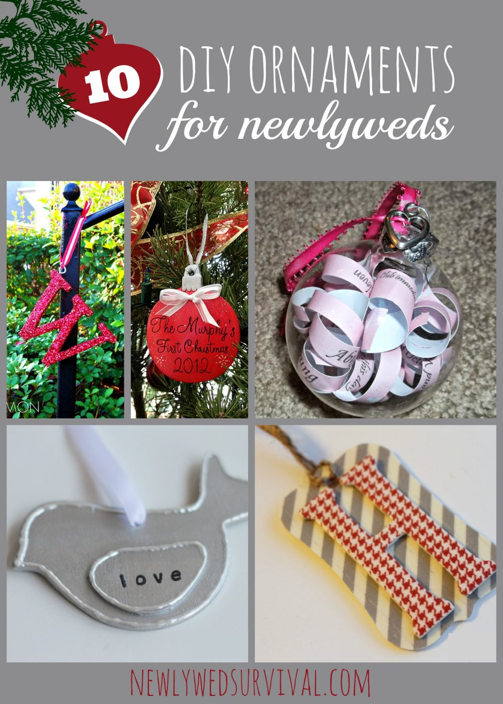 DIY Ornaments for newlyweds + some to buy online!