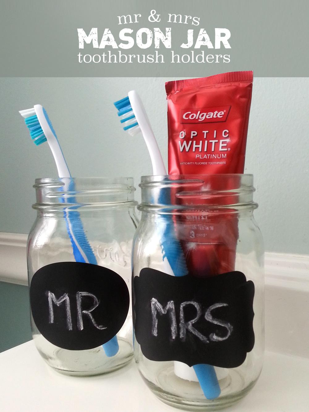 Diy Mr Amp Mrs Mason Jar Toothbrush Holders Opticsmiles Ad