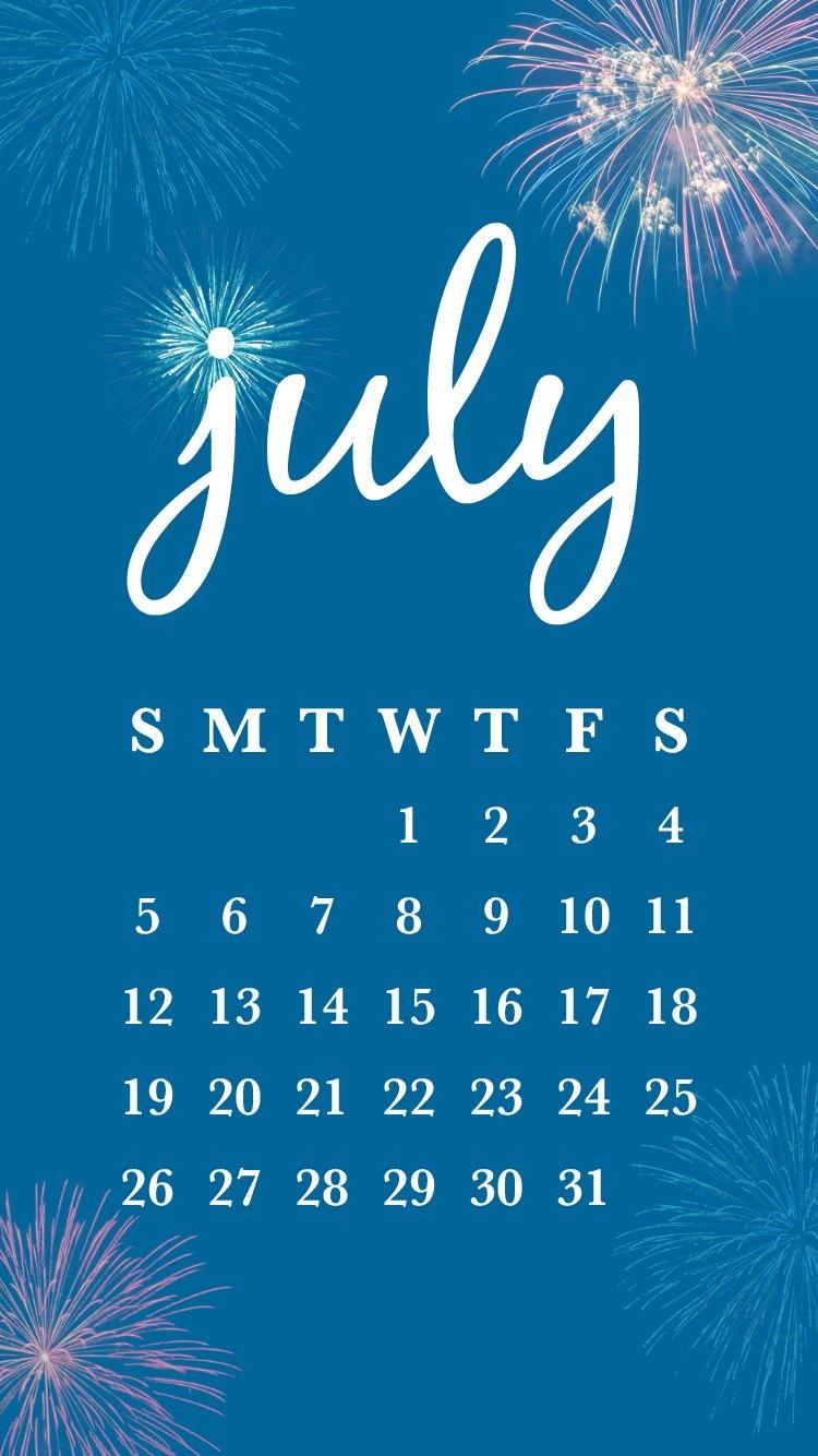 free printable july calendar   smartphone backgrounds
