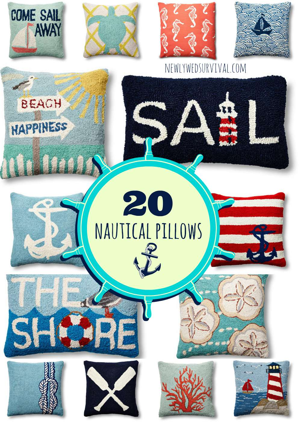 nautical throw pillows  newlywed survival - feel like you are near the ocean yearround with one of these nautical throw