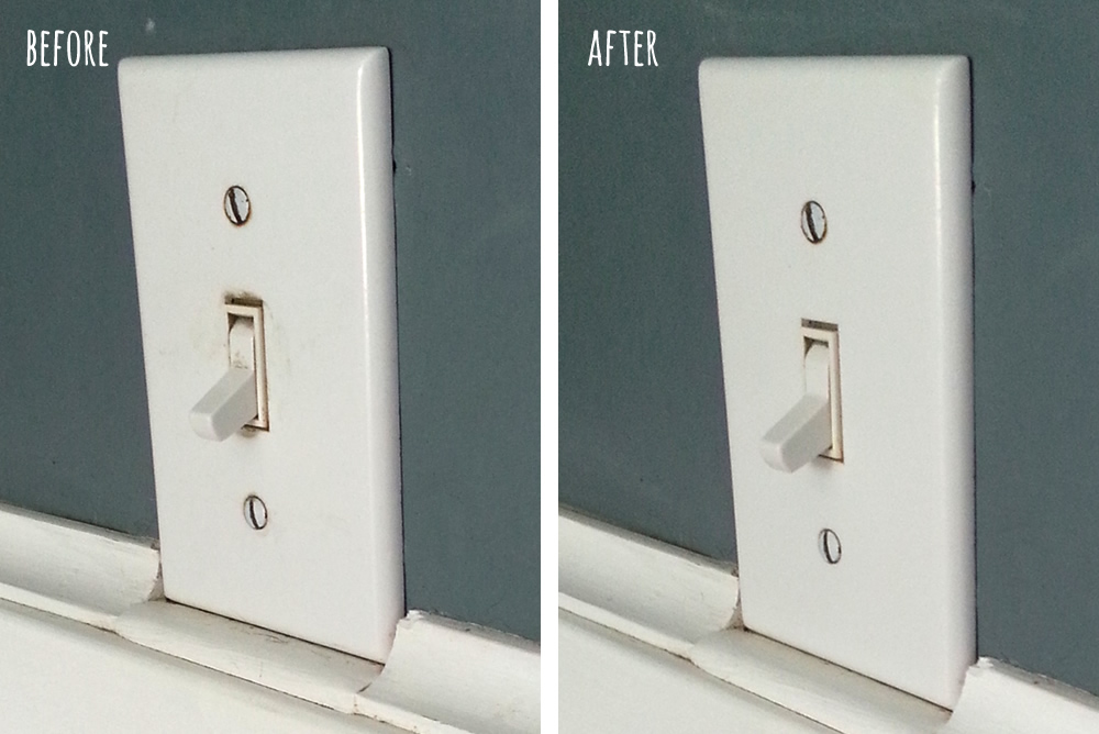 Light switch before and after #15MinReno #ConnectMrClean