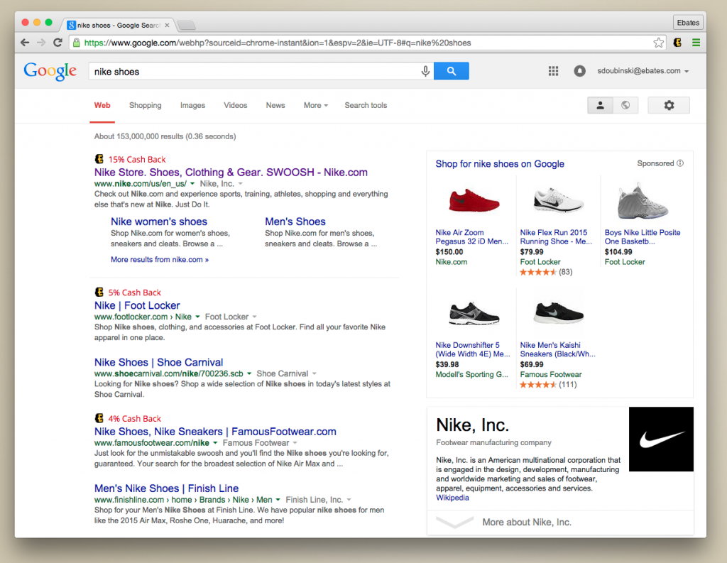 Ebates browser extension in use on Google search