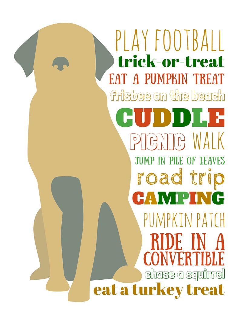 Free printable dog bucket list for fall #PinnacleHealthyPets