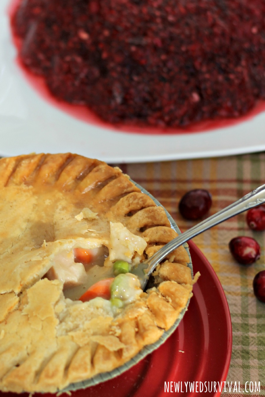 Marie Callenders turkey pot pie with cranberry gelatin mold
