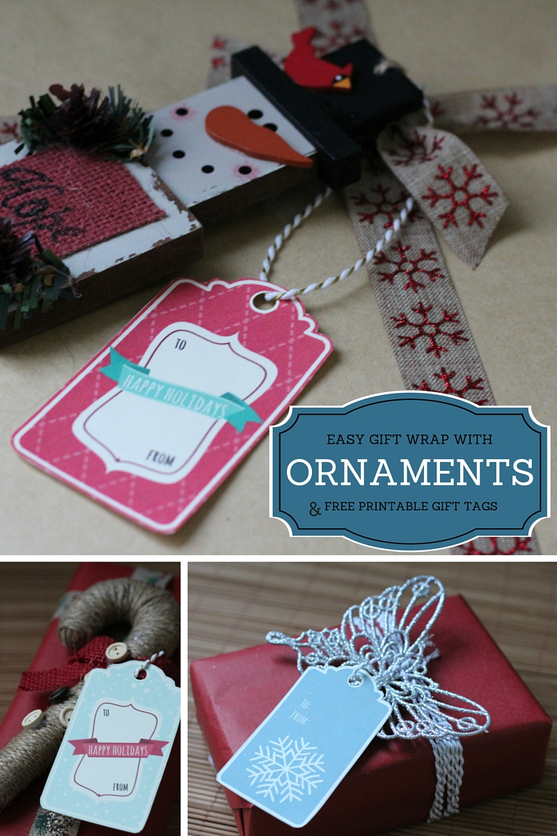 Easy gift wrap with ornaments plus free printable gift tags #BIGSeason #BigLots