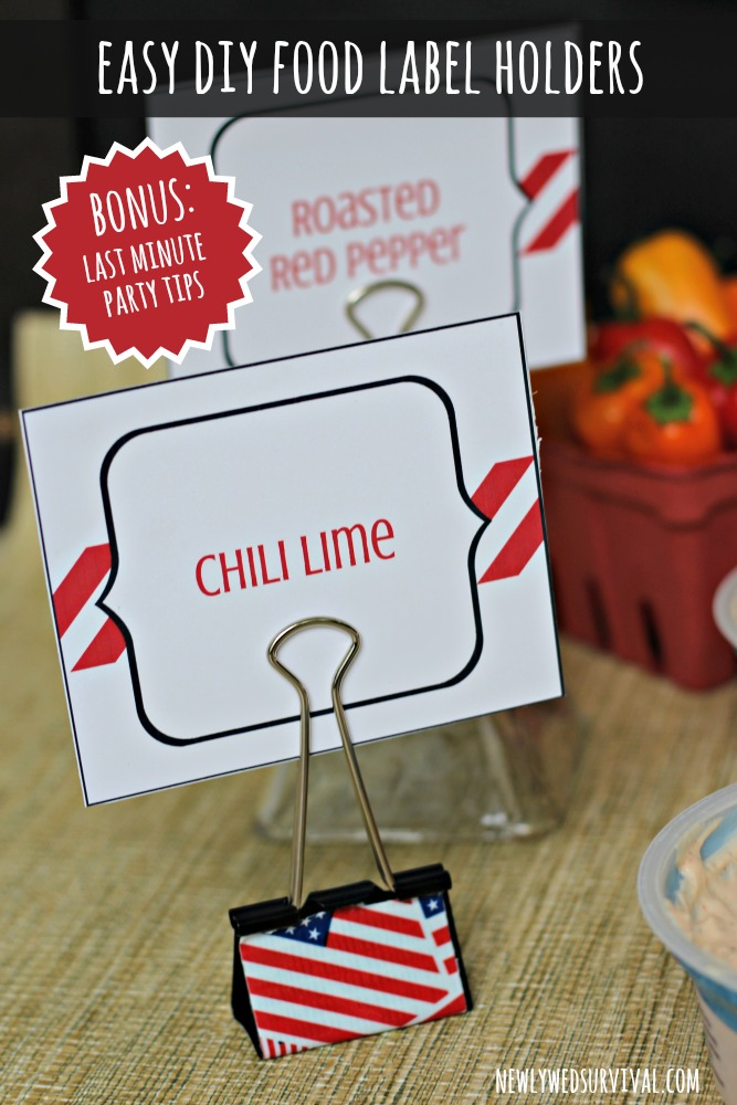 Easy diy food label holders last minute party tips for Last minute party food