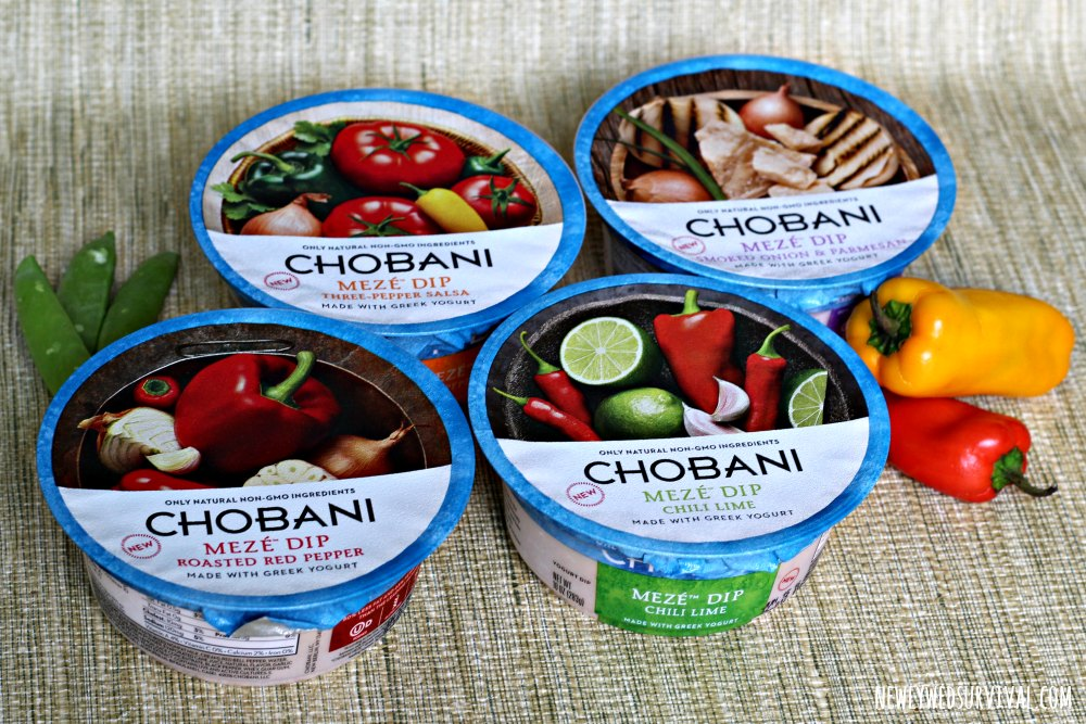 Four flavors of Chobani Meze Dip