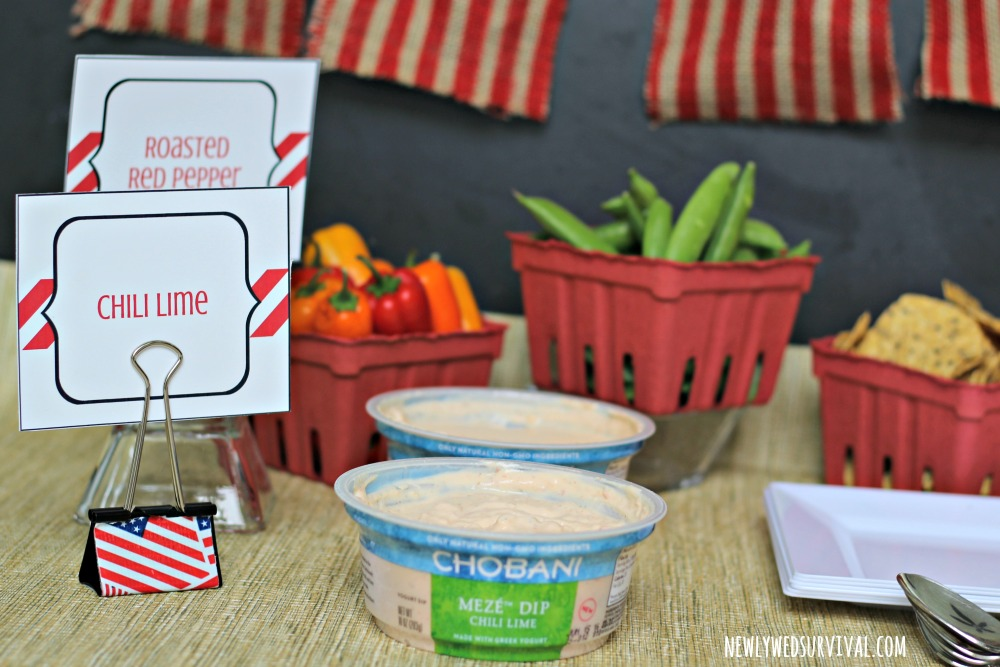 Patriotic food labels for dip