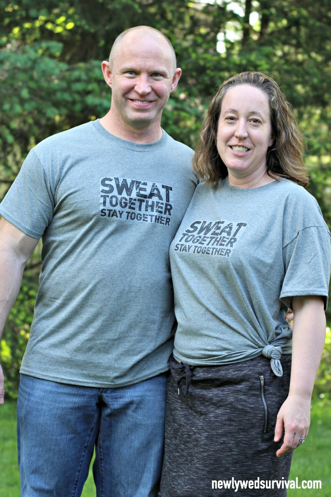 Wearing our sweat together stay together shirts. An easy DIY with this free printable!