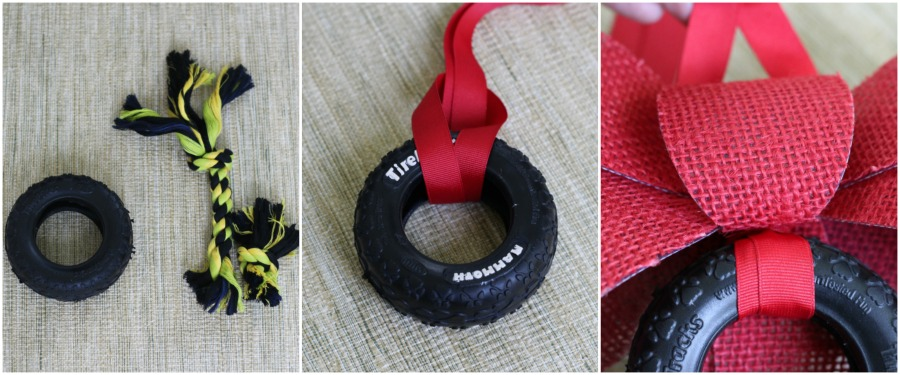 Race fan wreath: Remove rope from tire, wrap ribbon around tiere, and attach to bow