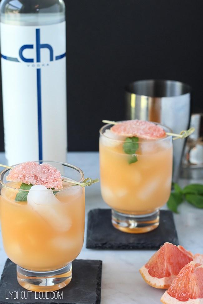 Grapefruit Basil Refresher Cocktail