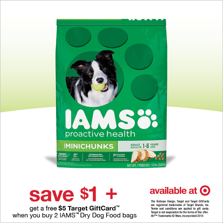 Save $1 on one bag IAMS + get a $5 Target Gift Card on two bags!