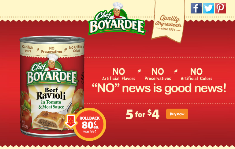 Save on Chef Boyardee: 5 for $4 at Walmart