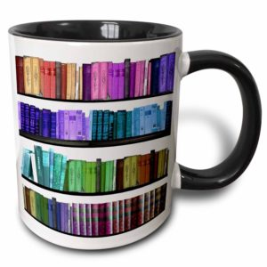Colorful bookshelf coffee mug