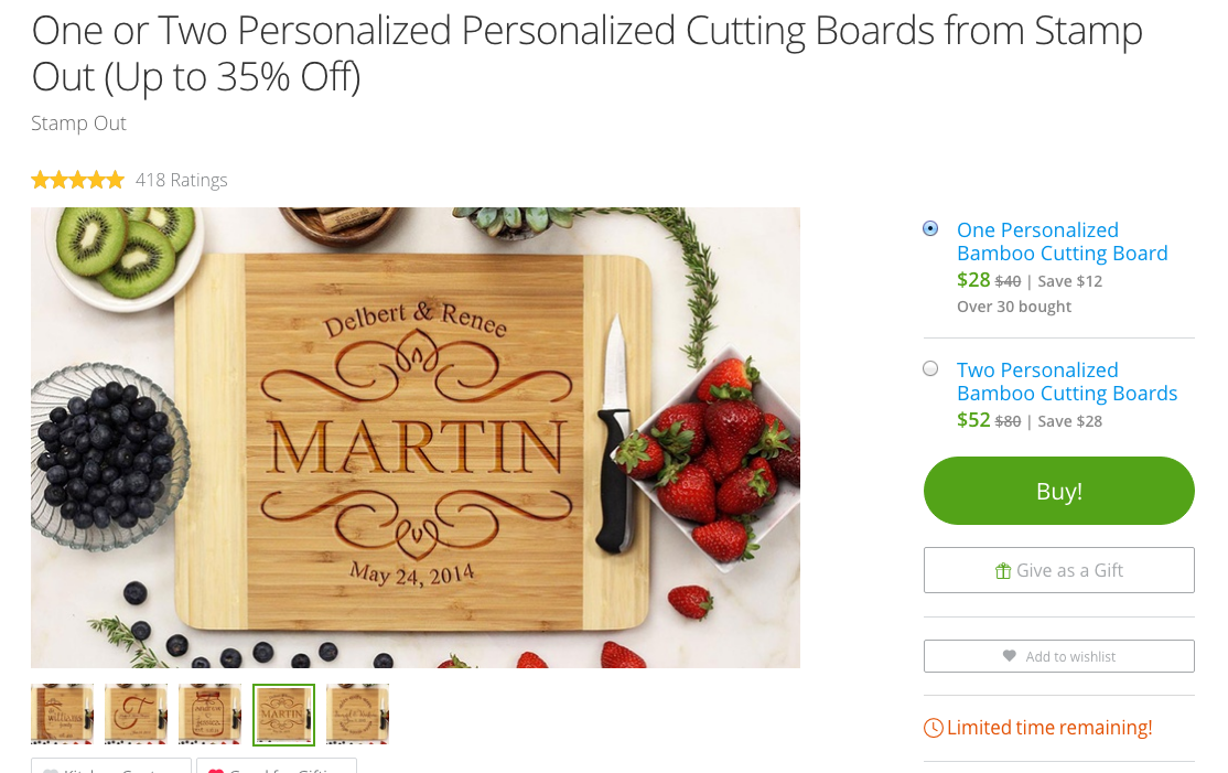 Groupon Goods: Cutting board with your new last name