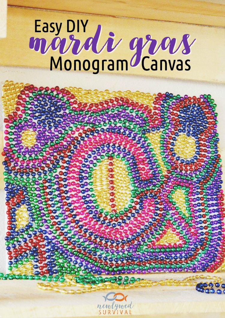 Easy DIY Mardi Gras Monogram Canvas