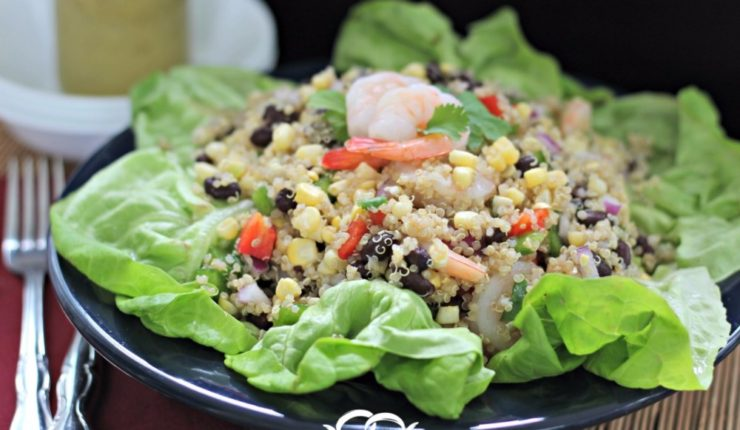 Sweet Corn, Shrimp & Bean Quinoa Salad with a Dijon Vinaigrette