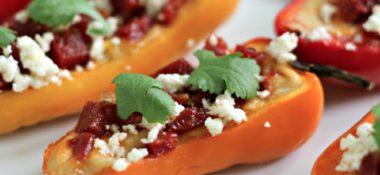 Chorizo & Hummus Stuffed Mini Peppers Appetizer Recipe