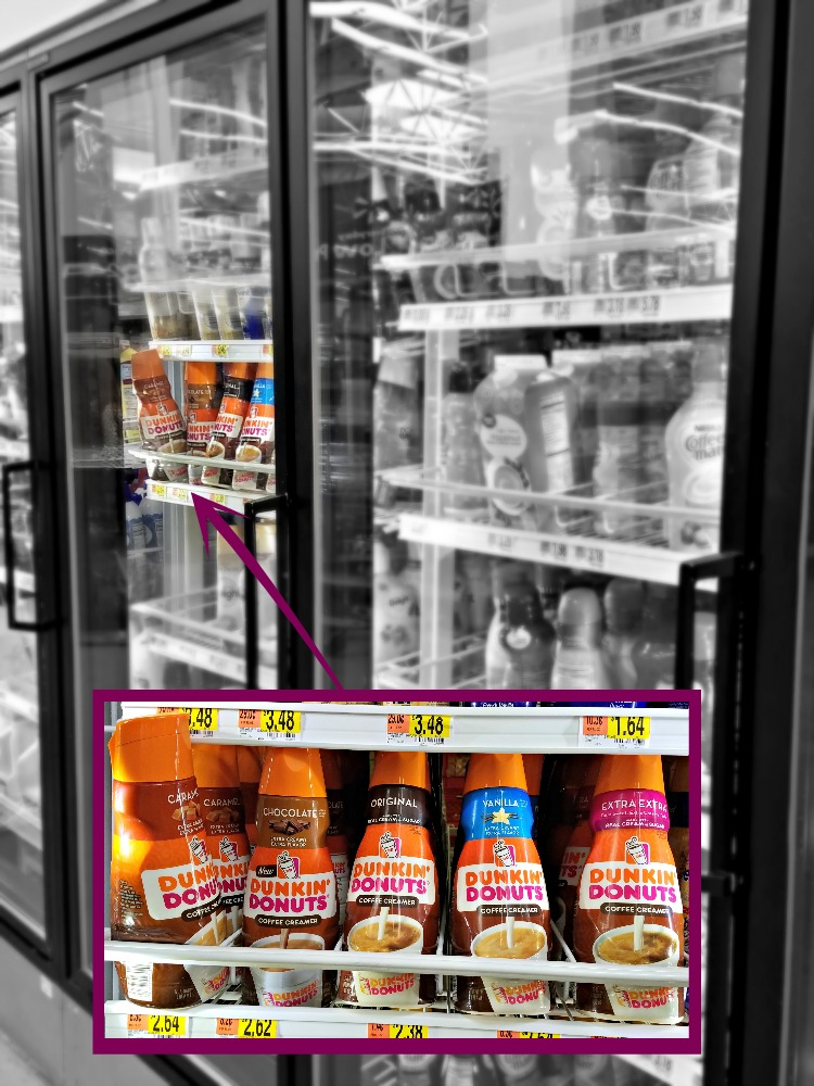 Dunkin' Donuts® Coffee Creamers are in the refrigerated section at Walmart
