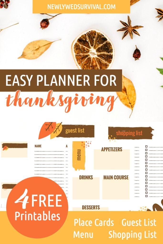 Easy Planner for Thanksgiving Dinner
