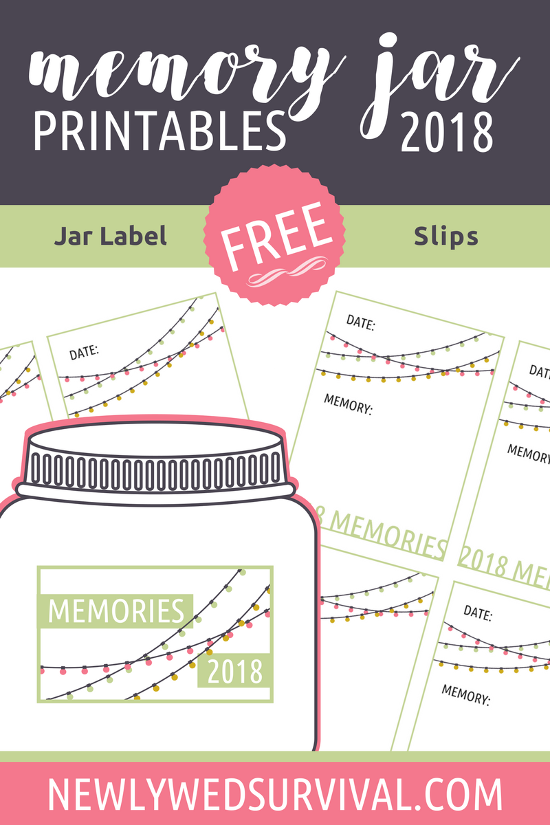2018 Free Printable Memory Jar label and slips - Great idea for a New Year's Eve activity when staying in.