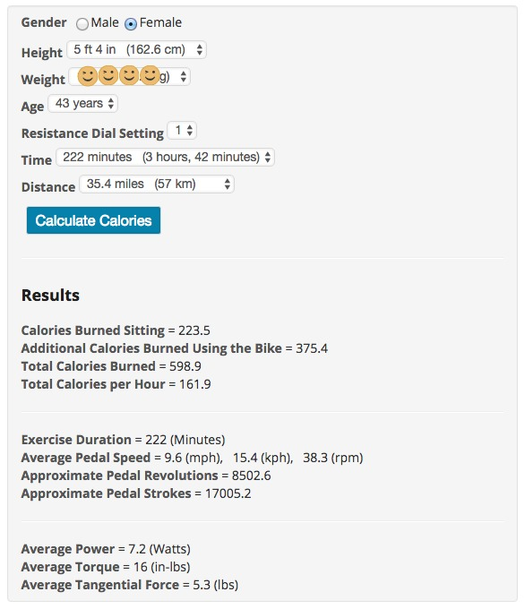 DeskCycle Calorie Calculator