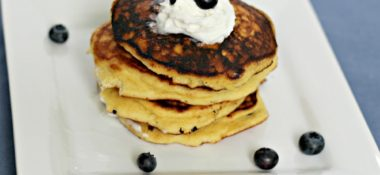 Low Carb Blueberry Pancakes topped with Whipped Cream