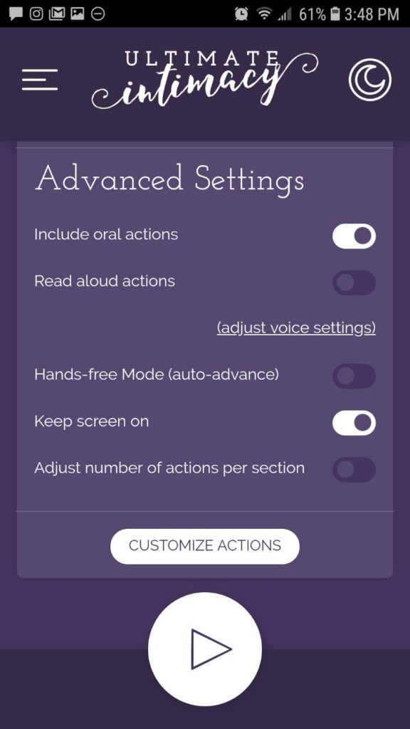 Advanced Settings for the Ultimate Intimacy app game