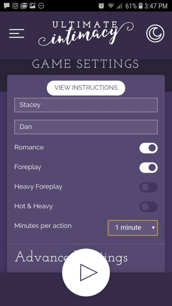 Settings for the Ultimate Intimacy app game