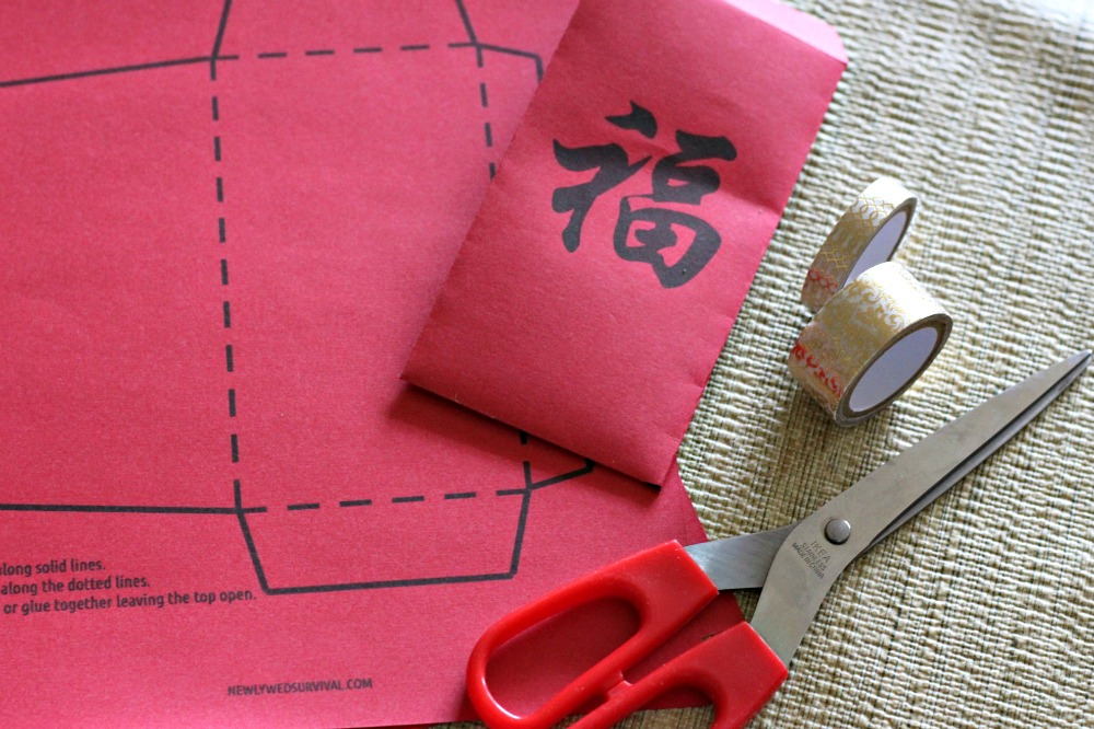 Supplies for making Chinese red envelopes