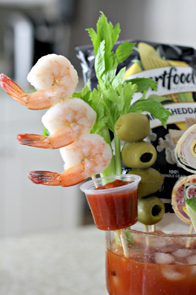 Shrimp and cocktail sauce on an Extreme Bloody Mary