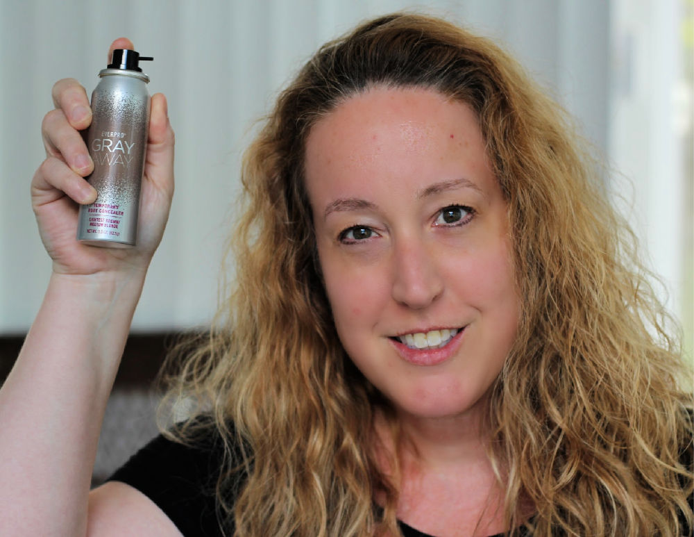 Use Gray Away Temporary Root Concealer Spray for seamlessly covering gray roots