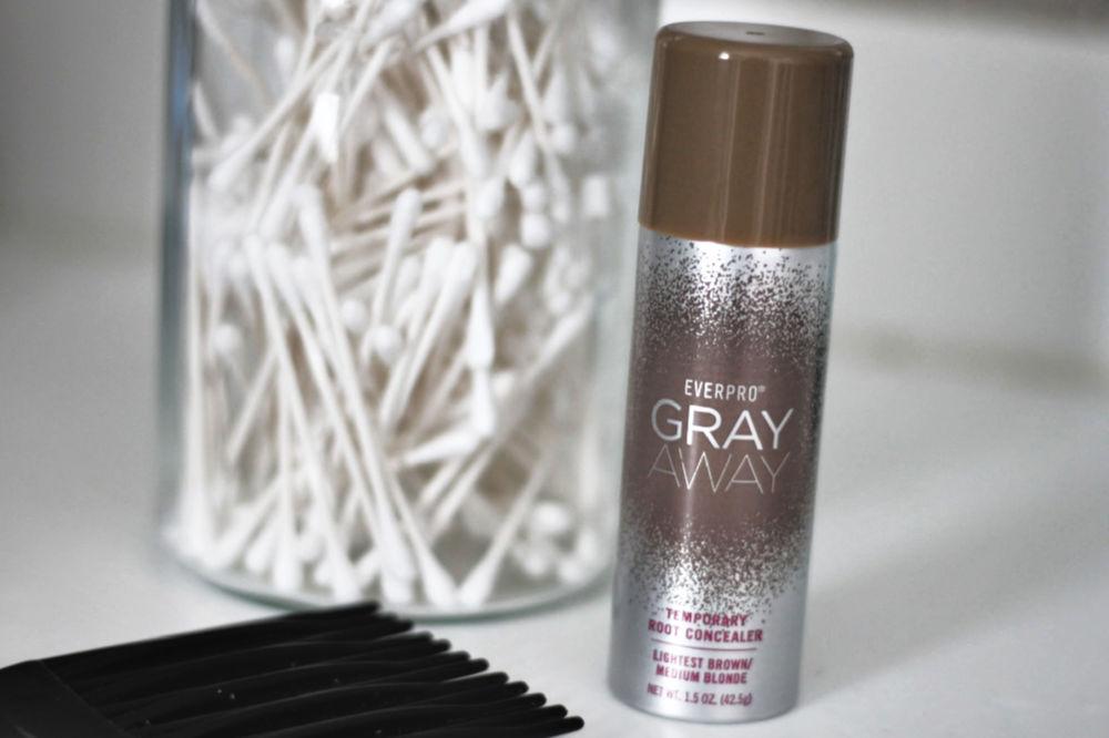 Gray Away Temporary Root Concealer Spray in lightest brown/medium blonde